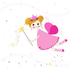 Lovely fairy with stars vector background