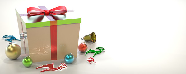 gift box with Christmas decorations