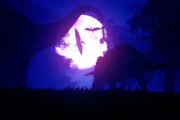 Mysterious Magical Prehistoric Fantasy Forest at Night 3D art