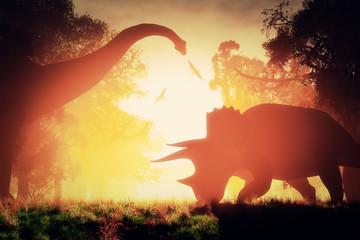 Mysterious Magical Prehistoric Fantasy Scene Sunset Sunrise 3D