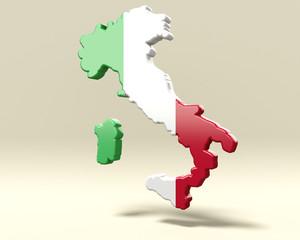 Italia a bandiera tridimensionale