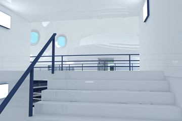 Reflective Emergency Staircase in Modern Building 3D artwork