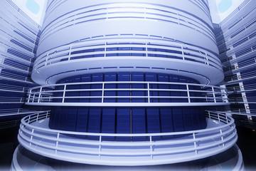 Ultra Modern Futuristic Data Center Illustration 3D artwork