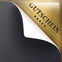 Ecke Gutschein Gold transparent auf Grau