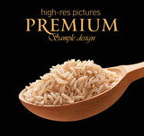 Unpolished rice in a wooden spoon  isolated on black background poster