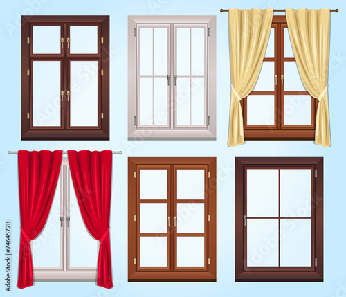 Six Vector Type of Windows and Two Curtains - 74645728