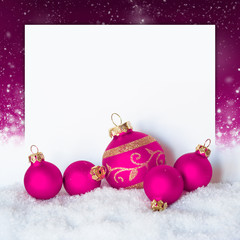 Christmas pink decorations on festive background a postal card