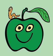 cartoon apple and worm