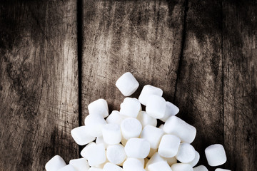 Close up image of White Fluffy Round Marshmallows ready to eat w