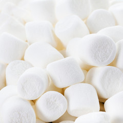Close up image of White Fluffy Round Marshmallows ready to eat.