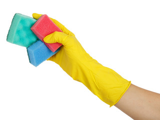 Washing up sponges in gloved hand