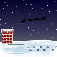 Santa Sleigh and Reindeer Foot Prints on the Roof