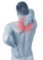 Young man holding his back, having pain