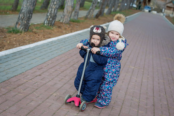 Toddler brother and sister for a walk