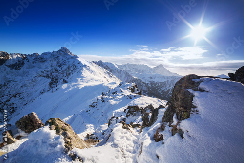 Tatra mountains in snowy winter time, Kasprowy Wierch, Poland - 74647976