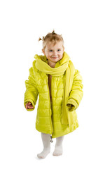 Little girl in adult jacket