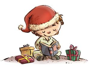niño en navidad con libros