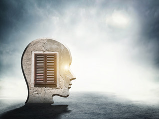 One silhouette of human head with window inside