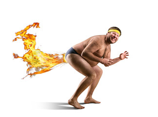 Naked freak farts by fire