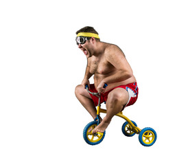Fat man riding a small bicycle