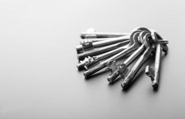 Bunch of keys isolated on grey