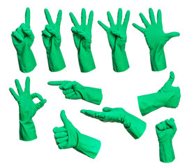 Set of rubber gloves hand signs