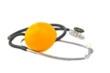 Orange and a stethoscope