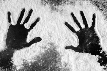 Hand prints in flour