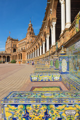 Seville - Plaza de Espana square and tiled provinces