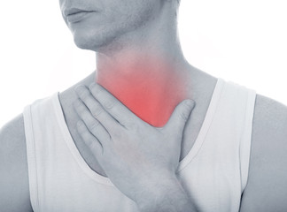 Acute pain in a throat at the young man