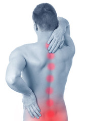 man suffers from pain in the spine