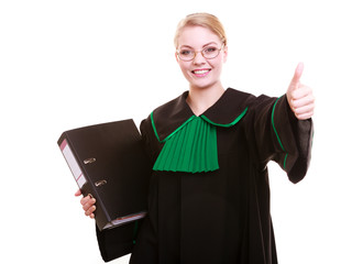 Young female lawyer attorney wearing classic polish black green
