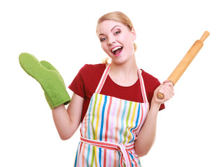 Happy young female woman wife housework cooking.