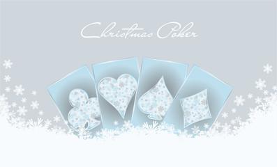Christmas poker invitation card, vector illustration