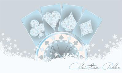 Christmas poker greeting card, vector illustration