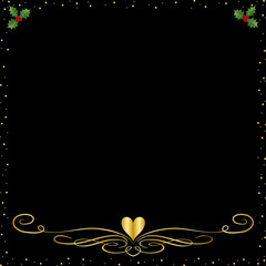 A Black Christmas Background With Gold an Holly