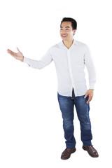 Casual man showing copyspace
