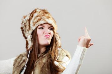 Girl showing middle finger gesture