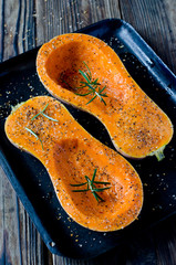 Baked pumpkin with spices and rosemary