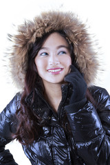 Gorgeous woman with winter jacket