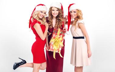 Sensual girls with santa's hats