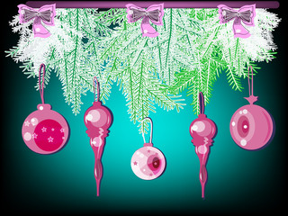 Glass toys on fir-tree branches.