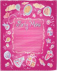 Kids party menu frame.