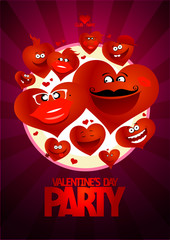 Valentine day party design flying hearts.