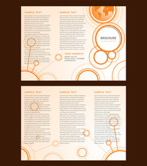 Vector Brochure Tri-fold Layout Design Template orange connect