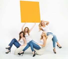 Joyful women and the yellow board