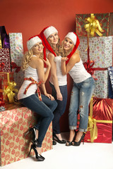 Three gorgeous women in Christmas mood