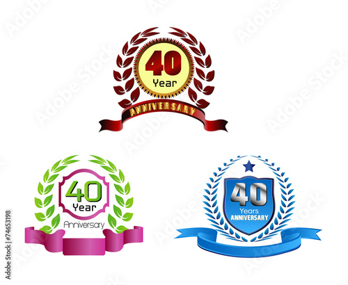 Anniversary golden laurel wreath 40 years quot stock image and royalty