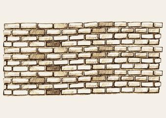 Sketch illustration of brick wall