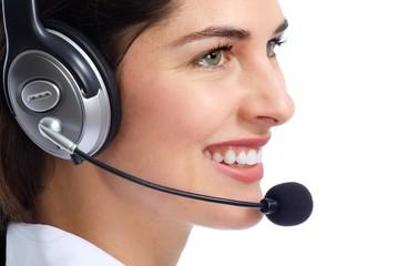 Operator woman with headphones.